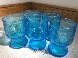 Vintage 1970s Italian Fidenza Vetraria Bormioli Rocco Blue Embossed Glass Juice Carafe Pitcher With 5 Glasses