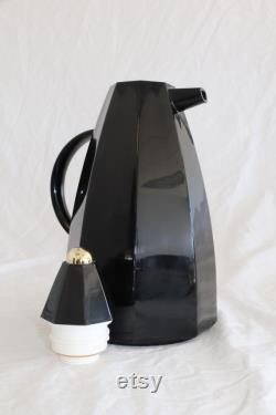 Vintage 1980's Studio Nova Black Coffee Tea Carafe Made In Japan Nonagon Shape Gold Ball Lid New
