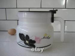 Vintage Arcoroc Rare Milk Glass Coffee Pot Anais Arcopal Retro mod made in France Black poppy florals Pink tulip French kitchen