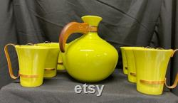 Vintage Bauer Plainware Chartreuse Carafe and 6 cups with Copper Handles