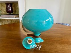 Vintage Bauer Pottery Turquoise Aqua Coffee Carafe Pot Pitcher, 1930s, Made in LA