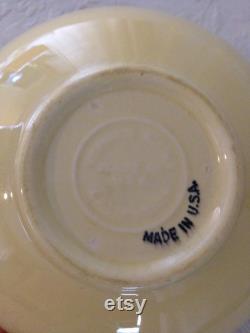 Vintage California Pottery Yellow Coffee Carafe by Vernon Kilns in the Coronado Pattern with Bakelite Handle 03484