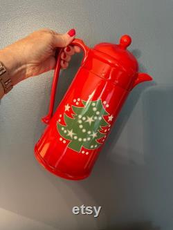 Vintage Christmas Carafe Red Christmas Carafe Carafe with Christmas Tree Holiday Carafe -