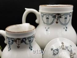 Vintage French Pair of St Uze Ironstone Jugs with Side Handle Detail. White with Art Deco Design. Blue and Brown Design. Antique Jugs.