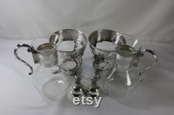 Vintage Glass Coffee Carafes with Silver Plated Stands
