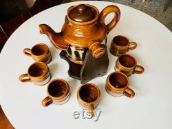Vintage Hot Drink Pitcher, BEAUCEWARE Hot Chocolate Dispenser Pottery Hot Toddy, Coffee Decanter on Wooden Stand