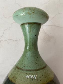 Vintage Iden Pottery Ceramic Carafe, Wine Decanter, Handmade Water Carafe, 1970s Studio Pottery, Modern Rustic Decor, Glazed Ceramics