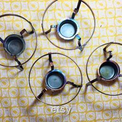 Vintage Inland carafette warmer set of 4 original box individual coffee service mid century atomic decor copper finish retro farmhouse 16 oz