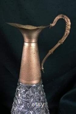 Vintage Italian Decorative Carafe Pressed Glass Decanter Elven style Baccarat Style Vase 1970
