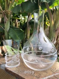 Vintage Juliska Water carafe and cup stacking pair, Bedside water carafe and glass, Czech Republic hand blown glass, luxury glass