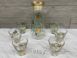 Vintage Libbey Glass Set Douglas Pine Cone Carafe and Glasses Midcentury Decanter and Rocks Glasses