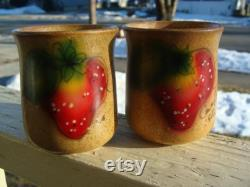 Vintage McCoy Pottery Canyon Carafe And Two Tumblers Handpainted Strawberry Signed By Artist Carafe Pitcher 660 And Tumbler Glasses 659