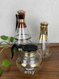 Vintage Mid Century Coffee Carafe Instant Collection Gold and Copper Inland 'Empress' Decanters and Cory Percolator