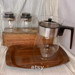 Vintage Mid Century Wood Grain Pyrex Glass Coffee Pot Carafe with Creamer, Sugar, and Tray Set