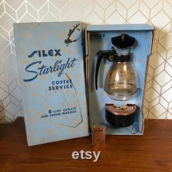 Vintage Pyrex Silex Starlight Coffee Service in Original Turquoise Blue Box. 8-cup Carafe and Coffee Warmer. Circa 1950's.