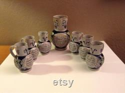 Vintage Salt-glazed Stoneware Wine Carafe with Six Matching Carafes Steins Germany