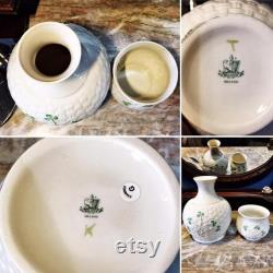 Vintage Set of 2 Belleek Parian China Pottery Shamrock Collection Carafe and Cup Set Made in Ireland IOB NOS
