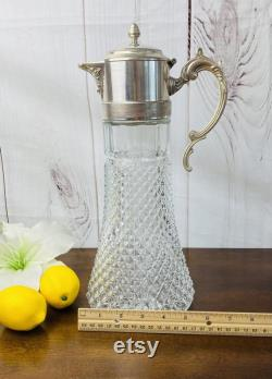 Vintage Sheffield Large Silver and Glass Juice Carafe, Diamond Point Claret Glass Pitcher, Antique Silver Pitcher