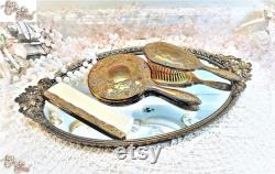 Vintage Vanity Set with Mirrored Tray