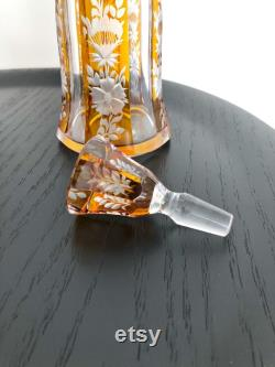 Vintage bohemian crystal liquor decanter and glasses set designed by Karl Palda from the 30 s in Art Deco style