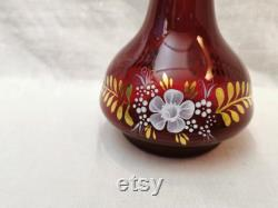 Vintage glass Carafe, Color Ruby Red Glassware, Barware