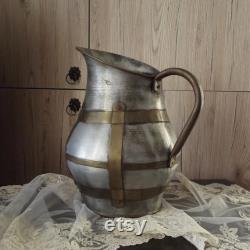 Vintage large pitcher , brass handle pitcher , brass carafe