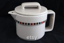 Vtg 1970's Aramis Ceramic Coffee Tea Juice Creamer Carafe With Lid and Spout 4 1 2 Square Pattern New