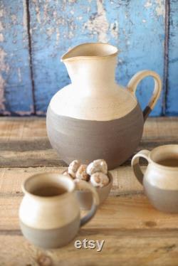 Water Jug, Ceramic Pitcher, Ceramic Carafe, Large Pottery Pitcher, Ceramic Vase, White Gray Pitcher, Juice Jug Ready to ship