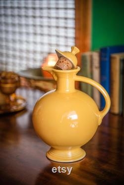 Yellow Fiesta Carafe with lid early Fiestaware by Homer Laughlin 1936-1946 piece made only in original colors original cork stopper