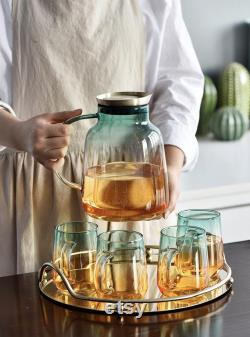 Yellow Green glass carafe set with a tray and wood lid, Decanter pitcher, Wine, Whiskey, Beer, Geometric, Juice set