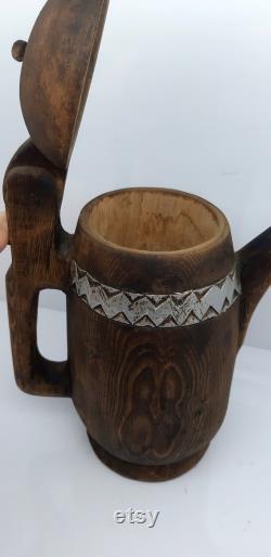 anatolianhomestore, wooden jug, handscarved, woodring, traditional jug, jug, very otantic handmade jug, collectable jug, unique gift store