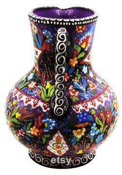 ceramic blue jug,beach decor, handmade, antique farm decor, gift for her, islamic art, bohemian decor, raku vase, large vase, fukagava vase