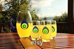 decoristan , evil eye carafe Handmade Glass Carafe ,Infinity Glass,Water Glass,Wine Carafe Holder,Drink,Wine