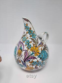 handpainted art ceramic balloon carafe, jug, pitcher, vase, handmade with flower pattern carafe, decorative, art carafe