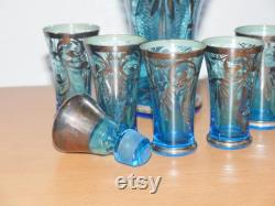 lot nr 778 Venetian silvered Glass Decanter lidded Carafe turquese blue Set with drinking shots Made in Italy Jug and 6 glasses set